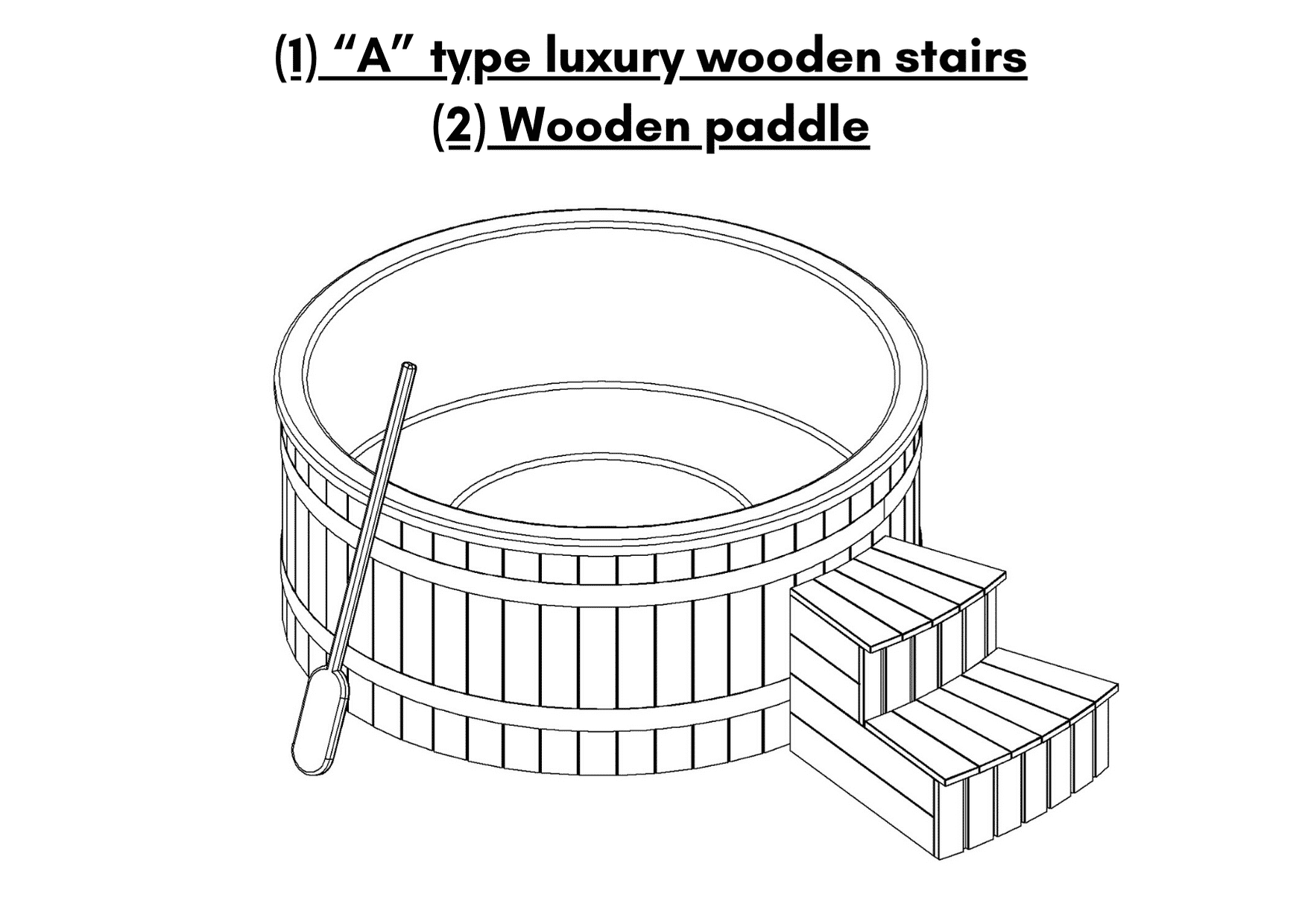 """1 """"A"""" type luxury wooden stairs 2 Wooden paddle 6 – 8 person outdoor hot tub with external burner"""