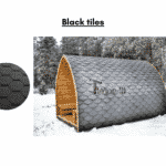 Black tiles for outdoor sauna
