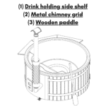 Drink holding side shelf Metal chimney grid Wooden paddle for wooden hot tub