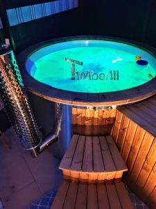 Fiberglass lined hot tub with integrated burner thermo wood Wellness Royal 2 1