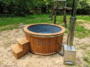 Fiberglass outdoor hot tub with external heater 22