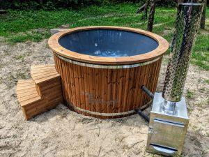 Fiberglass outdoor hot tub with external heater 23