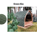 Green tiles for outdoor sauna