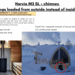 Harvia M3 SL chimney logs loaded from outside instead of inside for outdoor sauna