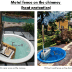 Metal fence on the chimney for wooden hot tub