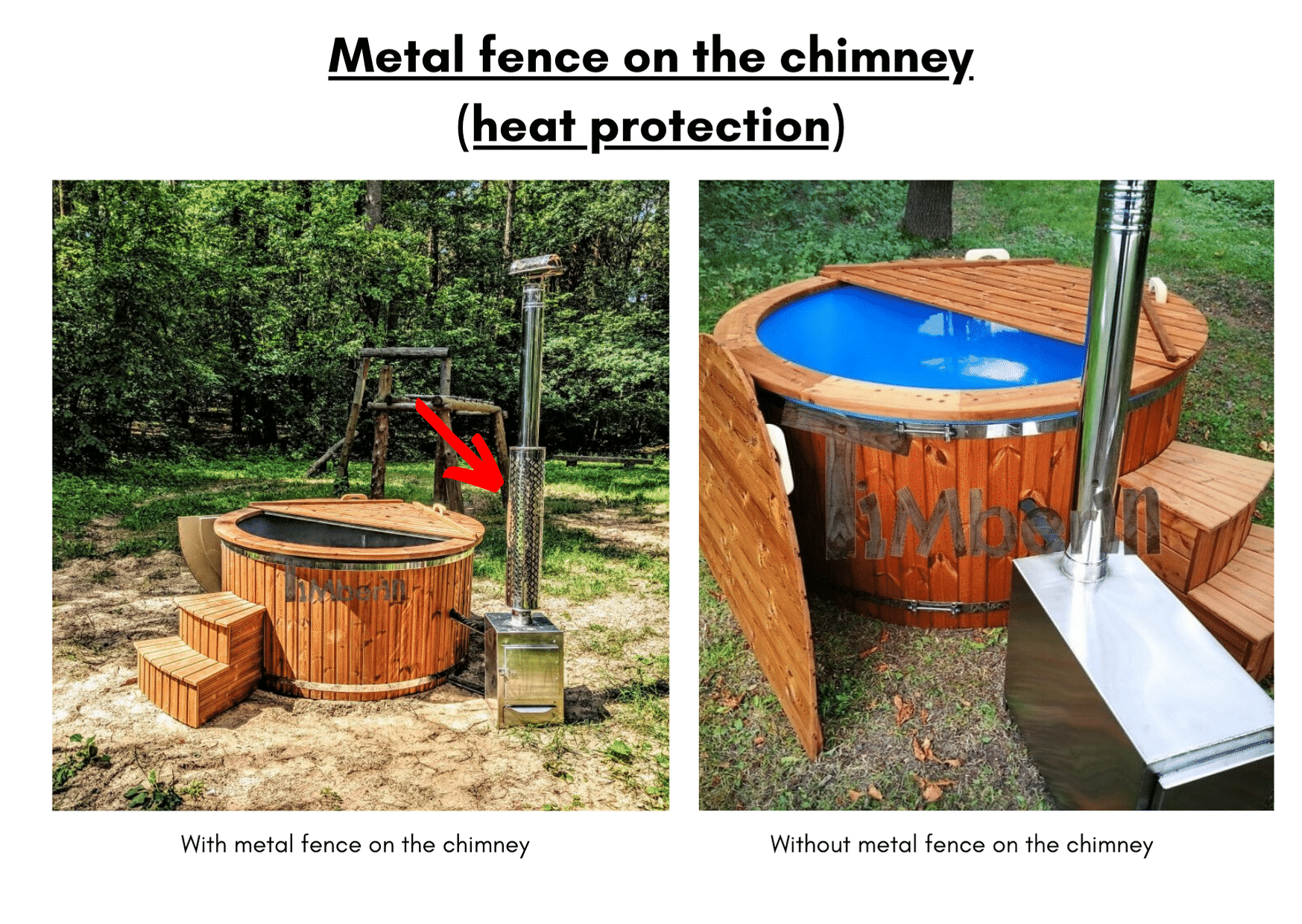Metal fence on the chimney heat protection 6 8 person outdoor hot tub with external burner