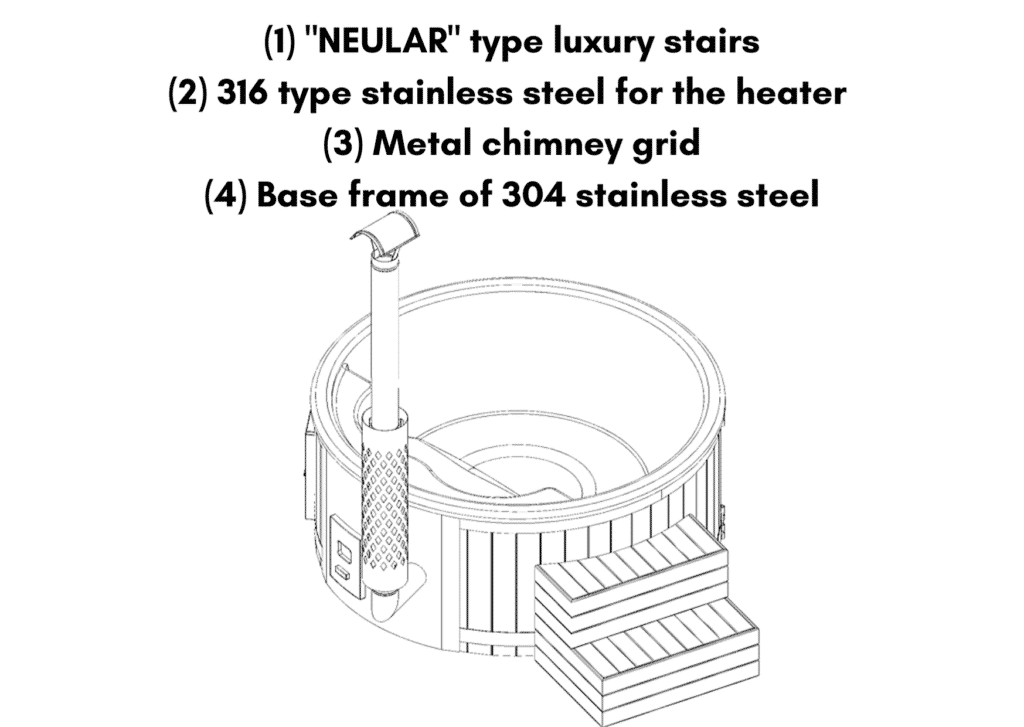 NEULAR type luxury stairs Outdoor whirlpool hot tub with Smart pellet stove 1