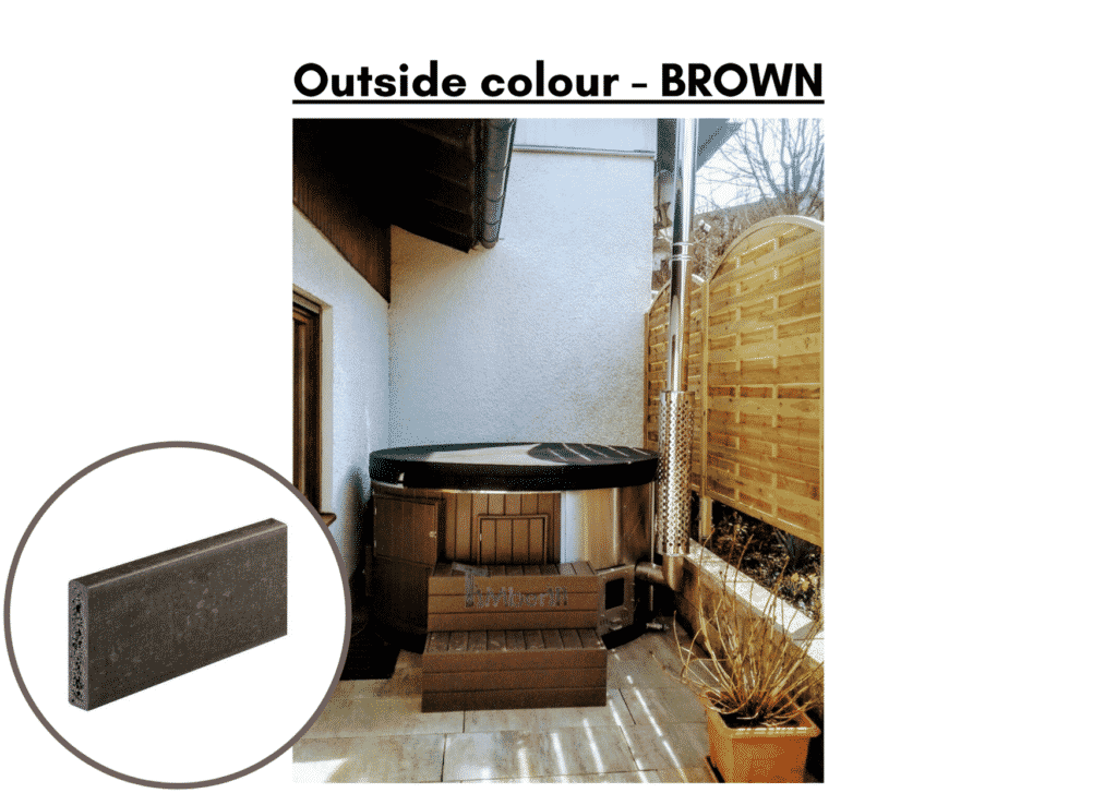 Outside colour brown Outdoor whirlpool hot tub with Smart pellet stove 5