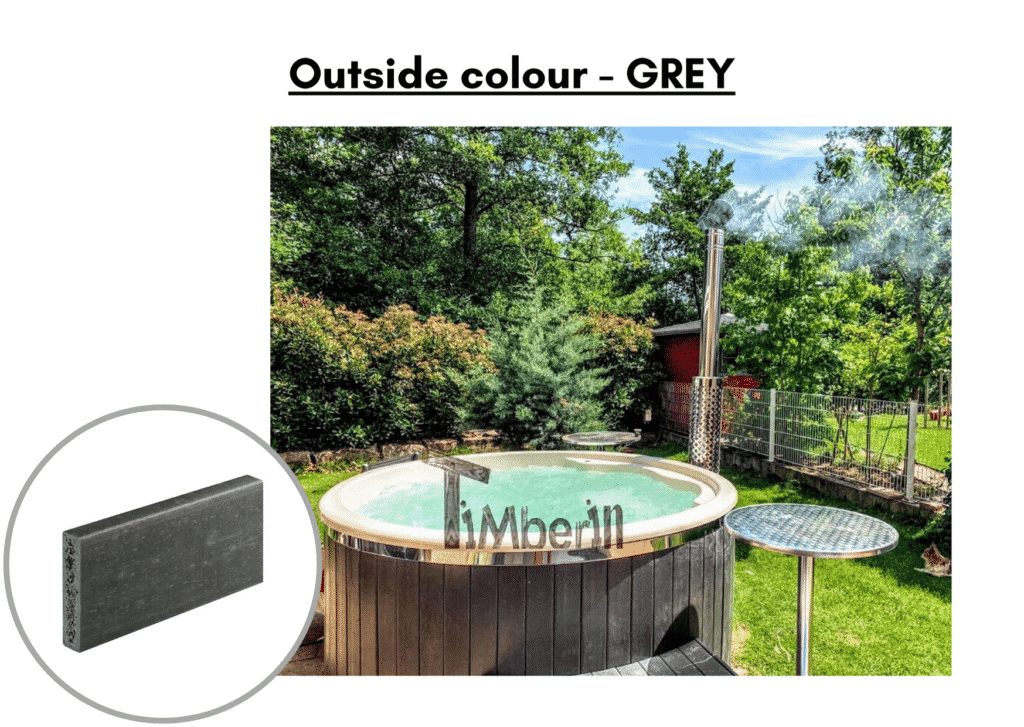 Outside colour grey Outdoor whirlpool hot tub with Smart pellet stove 6