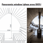 Panoramic window glass area 100 for outdoor sauna