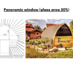 Panoramic window glass area 50 for outdoor sauna