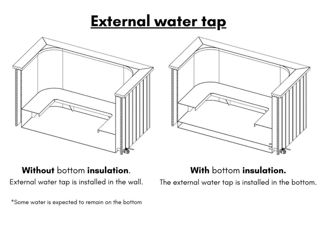 Square rectangular large hot tub water tap 2
