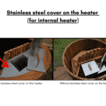 Stainless steel cover for heater for wooden hot tub