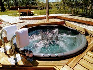 Wellness Hot Tub With External Wood Burner Sunken model 1