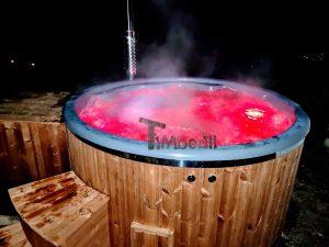Wood burning fiberglass hot tub with jets Wellness Royal 1