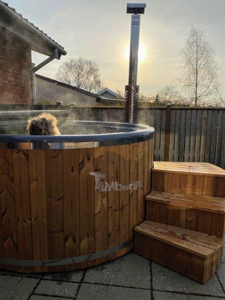 Wood burning fiberglass hot tub with jets Wellness Royal 2 1