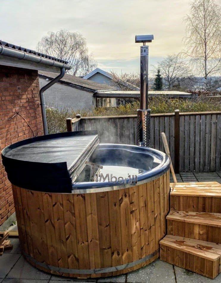 Wood burning fiberglass hot tub with jets Wellness Royal 4 1