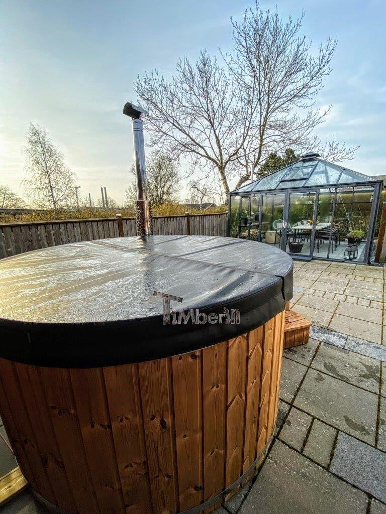 Wood burning fiberglass hot tub with jets Wellness Royal 5