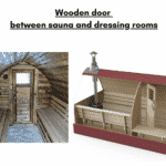 Wooden door between sauna and dressing rooms for outdoor sauna