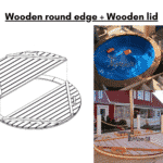 Wooden round edge instead of fiberglass Wooden lid for terrace hot tub
