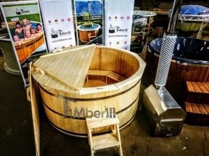 Wooden hot tub deluxe siberian spruce with external wood burner 1