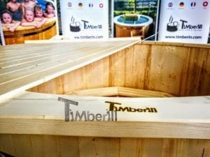 Wooden hot tub deluxe siberian spruce with external wood burner 10