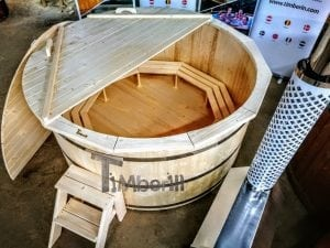 Wooden hot tub deluxe siberian spruce with external wood burner 4