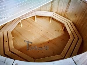 Wooden hot tub deluxe siberian spruce with external wood burner 6