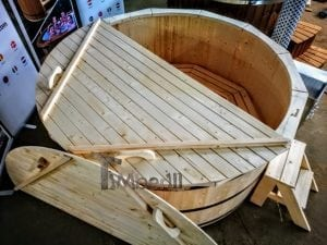 Wooden hot tub deluxe siberian spruce with external wood burner 8