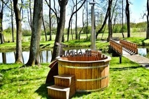 Wooden hot tub thermowood deluxe spa model 2