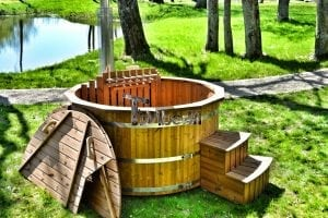 Wooden hot tub thermowood deluxe spa model 20