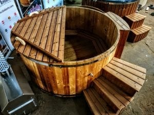 wooden hot tub thermo wood basic air bubble and LED 7