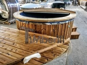 Electricity Heated Fiberglass Hot Tub With Thermowood Decoration 11