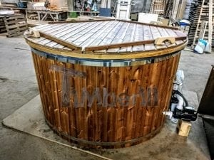 Electricity Heated Fiberglass Hot Tub With Thermowood Decoration 2