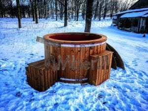 Electricity heated fiberglass hot tub with thermowood decoration 1
