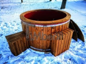 Electricity heated fiberglass hot tub with thermowood decoration 13