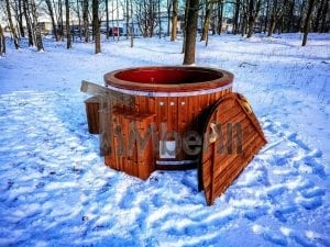 Electricity heated fiberglass hot tub with thermowood decoration 15