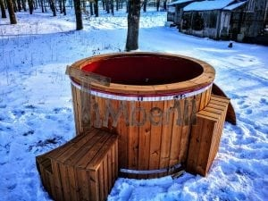 Electricity heated fiberglass hot tub with thermowood decoration 16