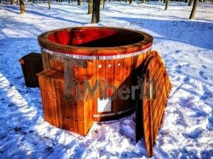 Electricity heated fiberglass hot tub with thermowood decoration 24