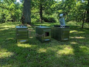 External wood heated spa heater Rectangular Model 1