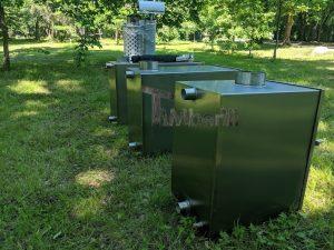 External wood heated spa heater Rectangular Model 11