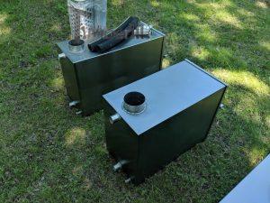 External wood heated spa heater Rectangular Model 13