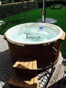 Fiberglass lined hot tub with integrated burner thermo wood Wellness Royal 2 2