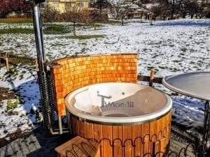 Fiberglass lined hot tub with integrated burner thermo wood Wellness Royal 5