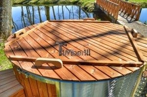 Fiberglass outdoor spa Wellness in thermo wood with wooden lid 20