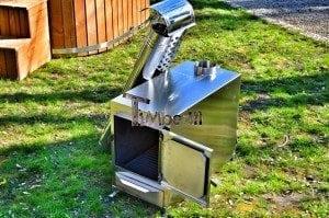 Rectangular stainless steel wood burner 2