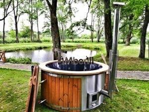 Wellness fiberglasshot tub with complete wood decoration 15