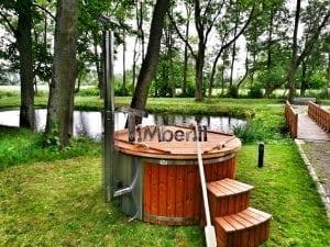Wellness fiberglasshot tub with complete wood decoration 22