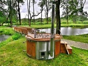 Wellness fiberglasshot tub with complete wood decoration 23