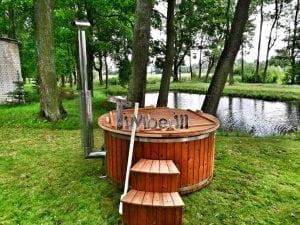 Wellness fiberglasshot tub with complete wood decoration 24